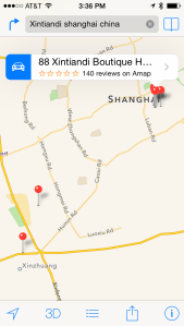 Apple Maps search results for Xintiandi