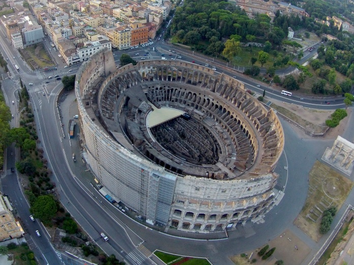 The colosseum as seen from above.