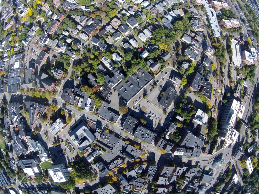 Brookline Village from the air