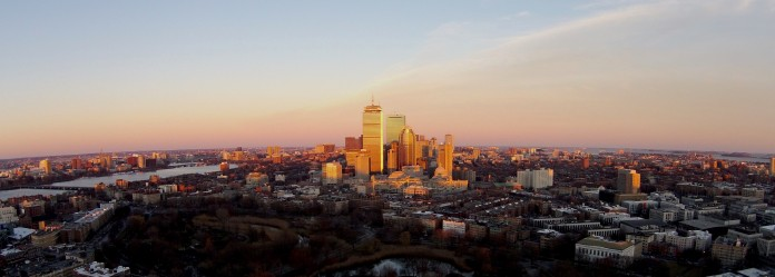 Boston at Sunset via my DJI Phantom Vision Two Plus